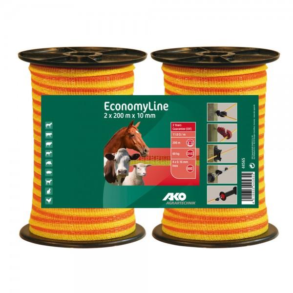 Weidezaunband Economy gelb/orange, 10mm/200m Doppelpackung