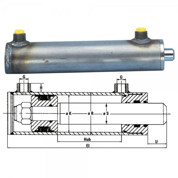 Hydraulikzylinder Kolben-Ø K= 80 mm, Kolbenstange-Ø S = 50 mm